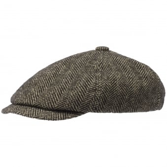 Virgin Wool 6-Panel Flat Cap- Herringbone