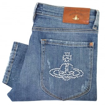 Vivienne Westwood Drain Pipe Blue Denim Jeans DS087