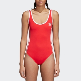 Womens Radiant Red 3-Stripes Bodysuit