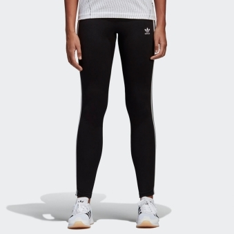 Womens Black 3-Stripes Leggings