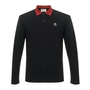 Wood Wood George LS Black Pique Polo Shirt 10005405-2059
