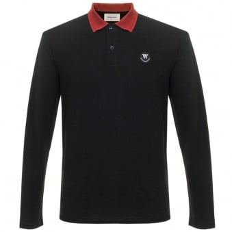 Wood Wood George LS Black Pique Polo Shirt 10005405-2059