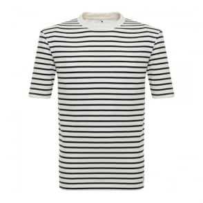 Wood Wood Herman Pristine Off White Striped T-Shirt 10005702-2000
